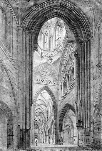 Dessin : Vue perspective de la croisée du transept et de la nef vers l'ouest