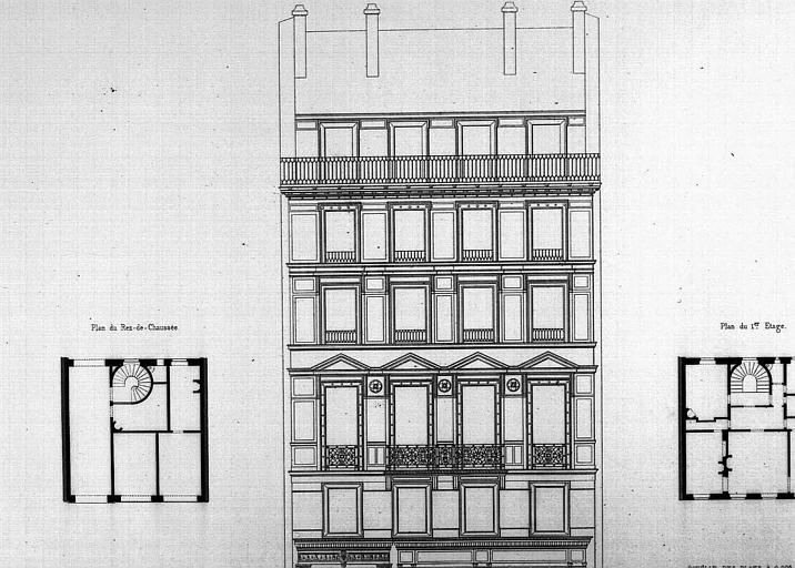 Gravure : Elévation de la façade, plans du rez-de-chaussée et du 1e étage