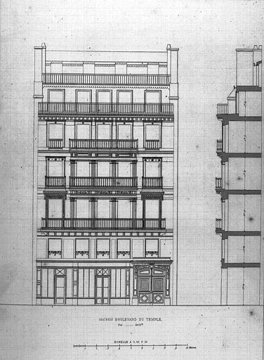 Gravure : Elévation et coupe de la façade