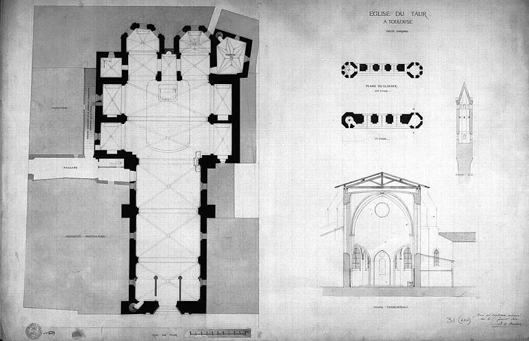 Plan général de l'église et coupe transversale, plan et coupe du clocher