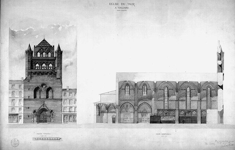Elévation de la façade ouest et coupe longitudinale (plan aquarellé)