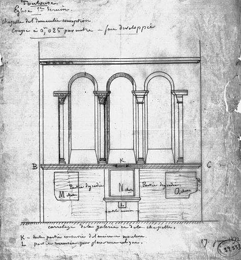 Projet d'autel de la chapelle de l'Immaculée Conception : Elévation des fenêtres comportant l'emplacement de l'autel