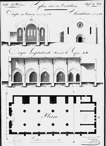 Plan général, coupes transversale et longitudinale, élévation de la façade ouest