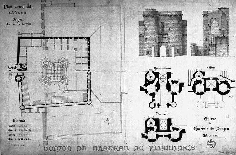 Plan du donjon et de son enceinte, et plan, coupe et élévation du pavillon d'entrée de l'enceinte