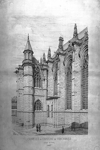 Gravure : Vue perspective de la face nord de la chapelle (état en 1867)