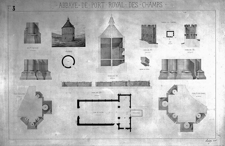 Gravure : Plan général de l'église et détails des piliers, élévations, coupes et plans du colombier et d'une tourelle de l'enceinte
