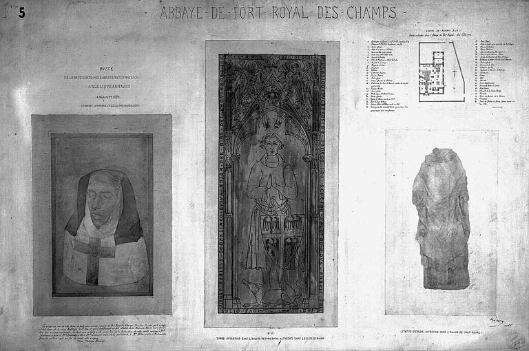 Gravure : Buste en cire de la mère Angélique Arnaud, dalle funéraire et statue d'évêque provenant de l'abbaye