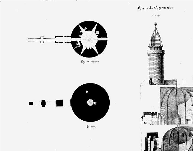 Tour de Constance : Plan du rez-de-chaussée, coupes, élévation
