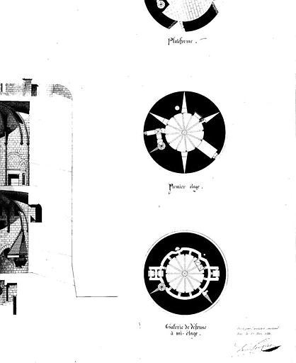 Tour de Constance : Plans de la galerie de défense à mi-étage et du 1e étage
