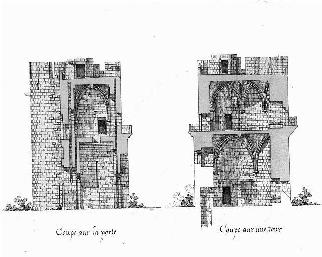Gravure : Coupe sur la porte et coupe sur une tour de la Porte de la Gardette