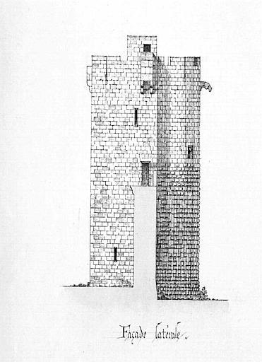 Tour de la Mêche : Elévation de la façade latérale
