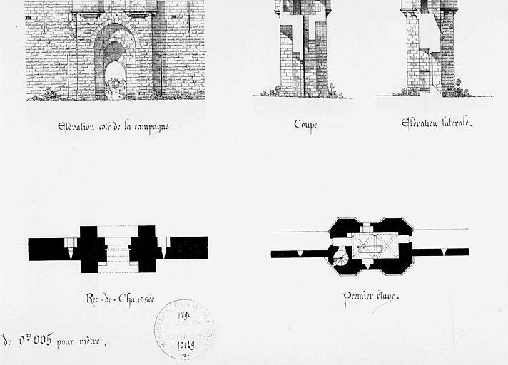 Porte des Cordeliers : Plans du rez-de-chaussée et du 1e étage