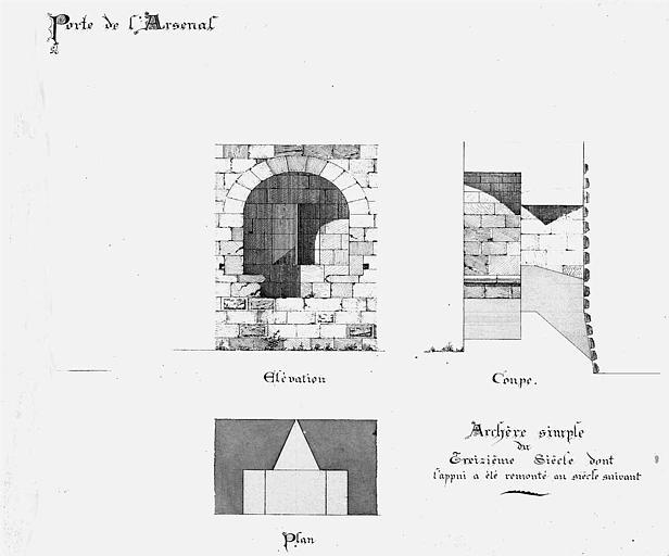Porte de l'Arsenal : Plan, coupe et élévation de l'archère simple du 13e