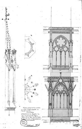 Plans et élévations d'un pinacle de la croisée du transept, élévation d'une travée de la nef