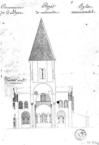 Projet de restauration : Coupe au niveau du transept