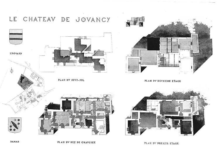 Plans du sous-sol, du rez-de-chaussée, des 1e et 2e étages et plan de situation (aquarelle)