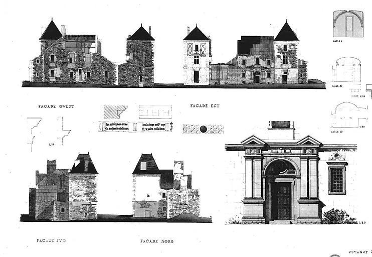 Elévation des façades et du portail d'entrée, détails (aquarelle)