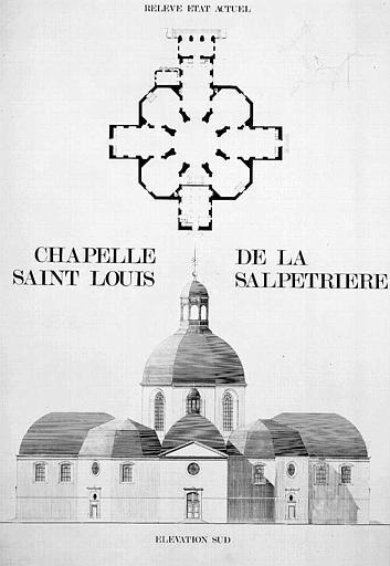 Elévation de la façade sud et plan (état actuel)