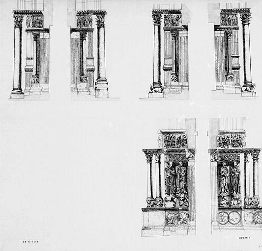 Relevé des ébrasements de trois portails de la façade occidentale