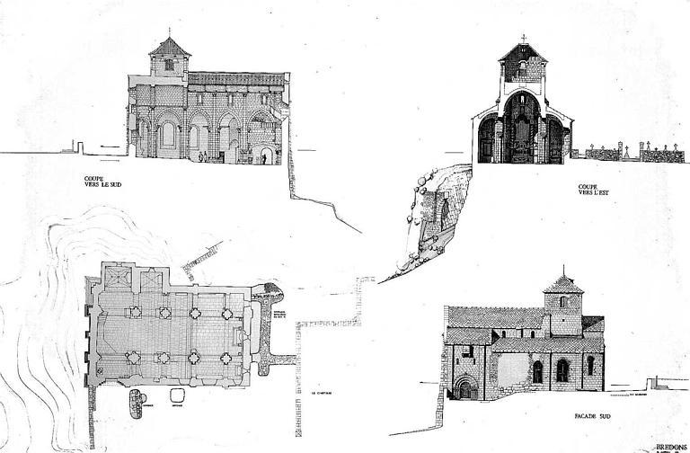 Coupes longitudinale (côté sud) et transversale (côté ouest), élévation de la façade sud et plan général (plan à la plume chêne et sépia)