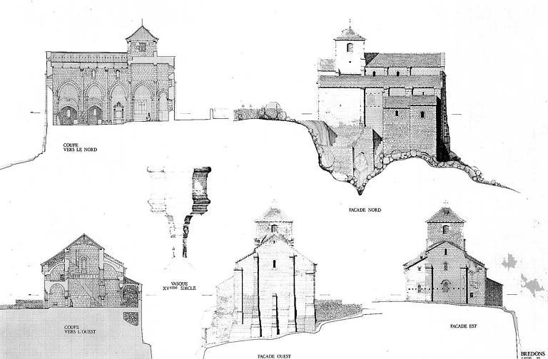 Coupes longitudinale (côté nord) et transversale (côté est), élévation des façades nord, ouest et est (plan à la plume chêne et sépia)