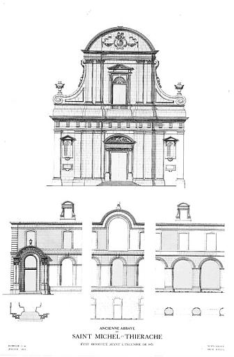 Elévation du portail occidental, élévations de détails de façade (état restitué avant l'incendie de 1971)