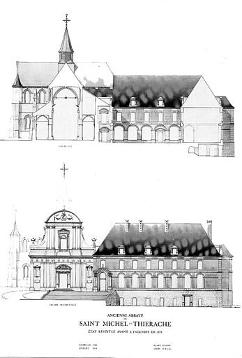 Coupe longitudinale et élévation de la façade occidentale (aquarelle)