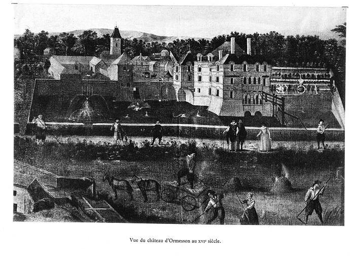 Lithographie : Vue du château d'Ormesson au 16e siècle