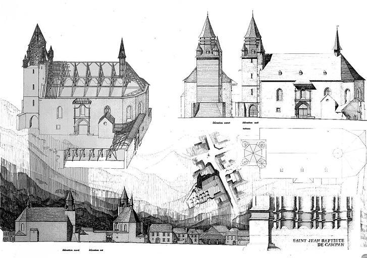 Plans, élévations, vue cavalière et détails de la base des piédroits