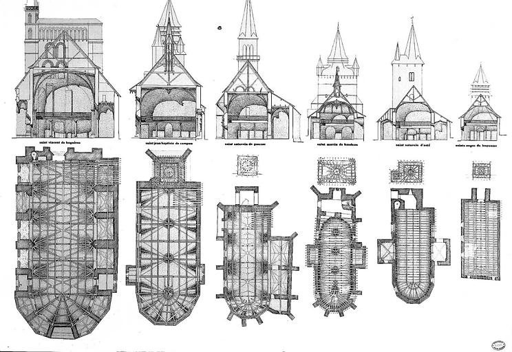 Coupes transversales et plans comparés des églises Saint-Vincent de Bagnères, Saint-Jean-Baptiste de Campan, Saint-Saturnin de Pouzac, Saint-Martin de Baudean, Saint-Saturnin d'Asté et Saints-Anges de Lesponne