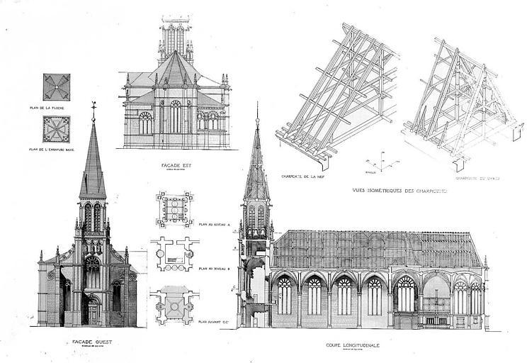 Elévations des façades est et ouest, coupe longitudinale, plans des différents niveaux du clocher et de la flèche, vues isométriques des charpentes