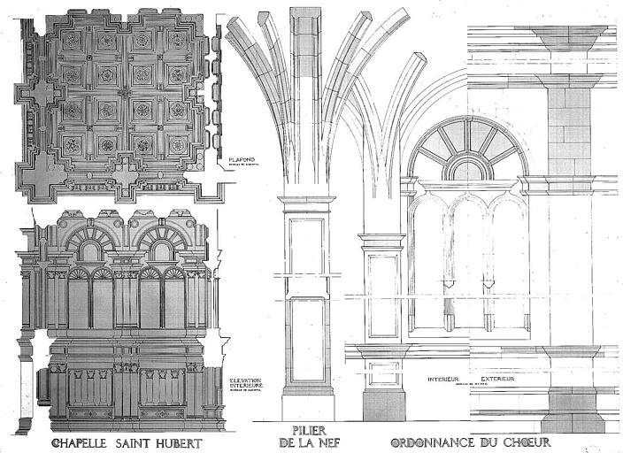 Elévation intérieure et plafond de la chapelle Saint-Hubert, détail d'un pilier de la nef, élévation de l'ordonnance du choeur