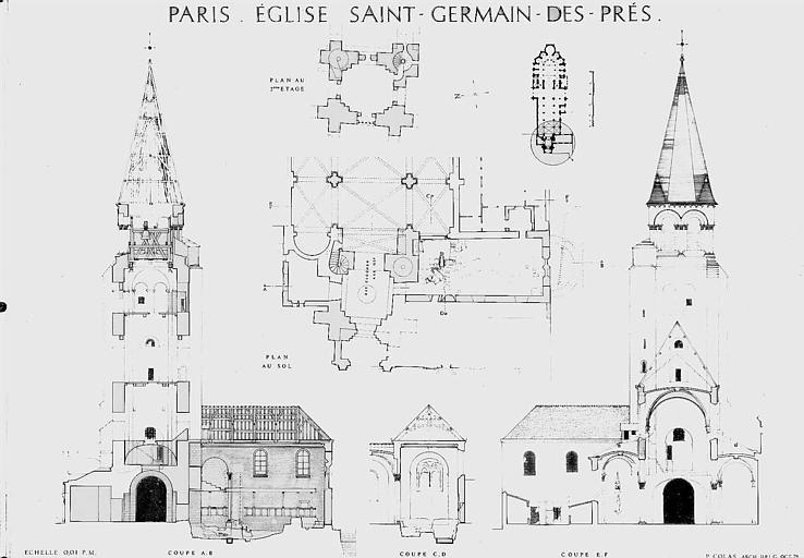 Plan au sol et coupes du massif occidental, plan du 1e étage du clocher