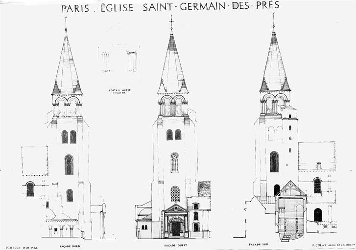 Elévations des façades du clocher (nord, ouest, sud) et du portail ouest