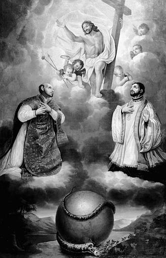 Peinture sur toile : Le Christ sauveur du monde entre saint François-Xavier et saint Ignace de Loyala