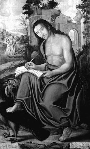Panneau peint : Saint Jean à Patmos