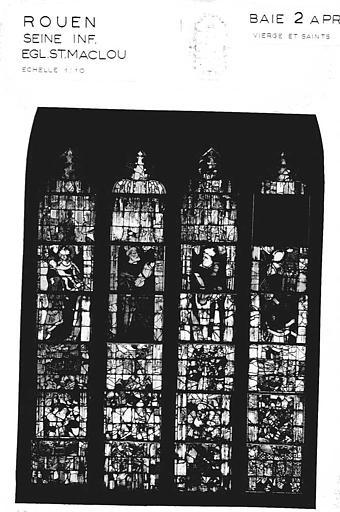 Vierge et saints, baie n° 2, panneau de vitrail
