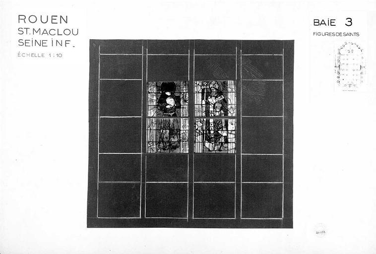 Figures de saints, baie n° 3, panneau de vitrail