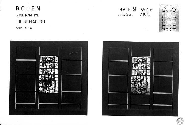 Saint évêque, baie n° 9, panneau de vitrail