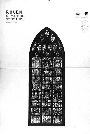 Figures de saints, baie n° 15, panneau de vitrail