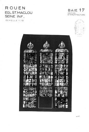 Motifs d'architecture, baie n° 17, panneau de vitrail