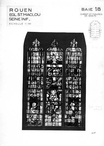 Christ et figures de saints, baie n° 18, panneau de vitrail