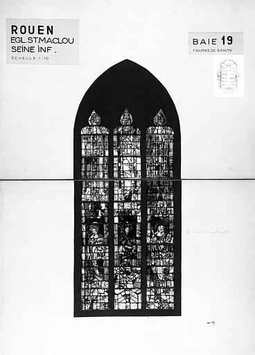 Figures de saints, baie n° 19, panneau de vitrail