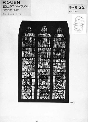 Apôtres, baie n° 22, panneau de vitrail