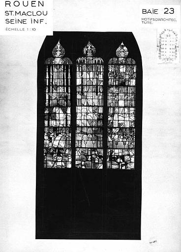 Motifs d'architecture, baie n° 23, panneau de vitrail