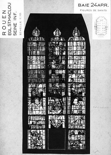 Figures de saints, baie n° 24, panneau de vitrail
