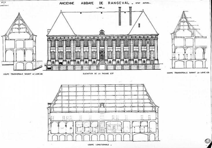 Elévation de la façade est, coupes transversale et longitudinale (état actuel)