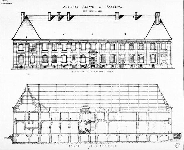 Elévation de la façade nord et coupe longitudinale (état actuel)