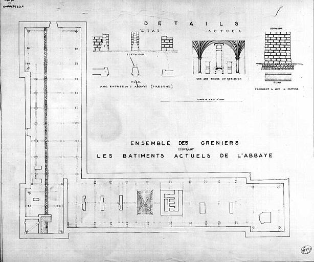 Plan d'ensemble des greniers couvrant les bâtiments actuels de l'abbaye et détails