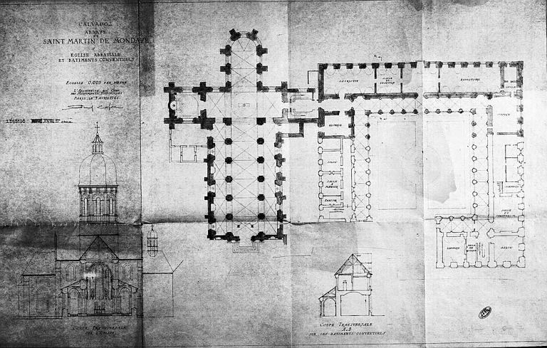 Plan et coupes transversales de l'église et des bâtiments conventuels